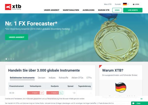 Eine übersichtliche Webseite wartet auf Trader des Online-Brokers XTB