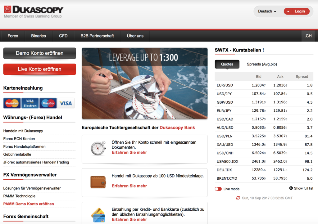 Die Homepage des Brokers Dukascopy Europe