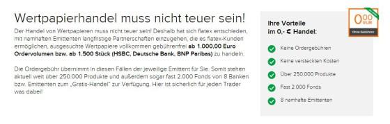 Übersicht des Flatex 0 Euro Handels
