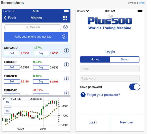 Plus500 - iPhone-App für mobiles Trading