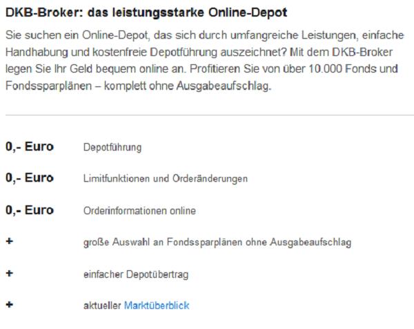 Die DKB bietet auch ein leistungsstarkes Online-Depot an