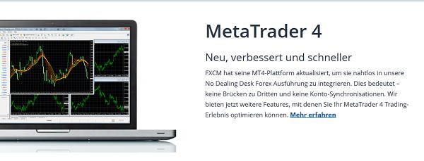 Eine der Handelsplattformen bei FXCM stellt der MetaTrader 4 dar