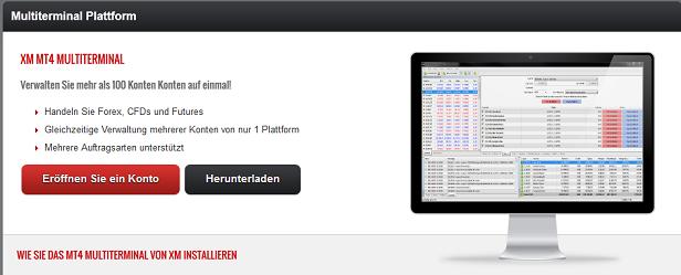 Eine der Handelsplattformen bei XM.com