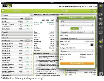 DAB Bank mobile App für Apple iOS und Android