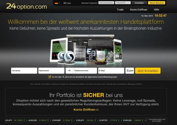 So sieht die Webpräsenz des Brokers 24option aus