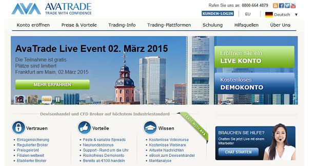 So sieht die Webseite des Brokers AvaTrade aus