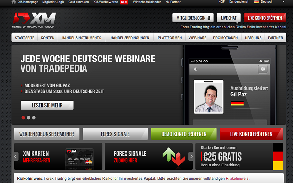 Die Webseite des Brokers XM.com