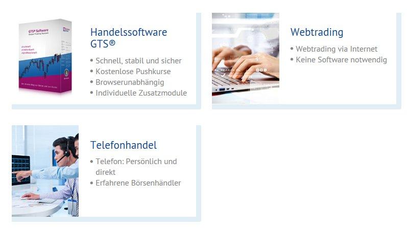 GTS, Webtrading und Telefonhandel bei der onvista Bank