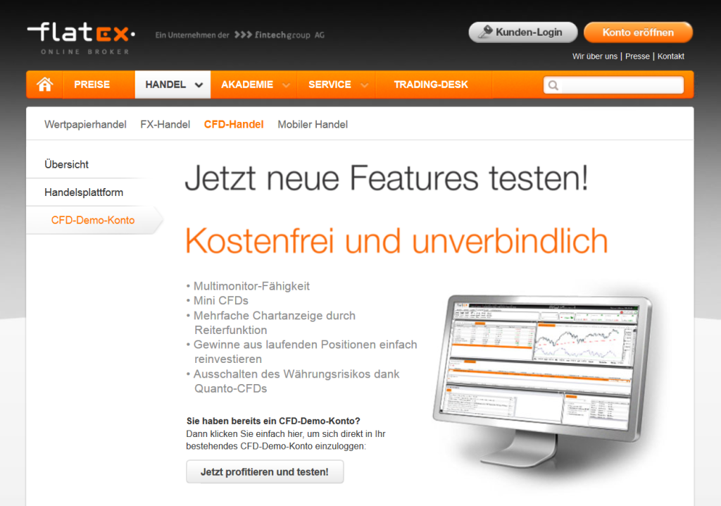 Kostenfreie Demokonten bei Flatex