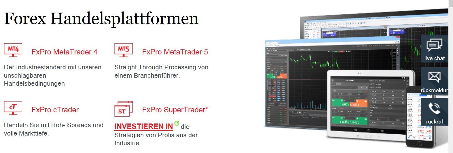 MetaTrader 5 Angebot bei FXPro