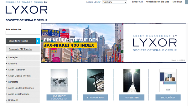 Einer der größten Anbieter von ETFs: LYXOR