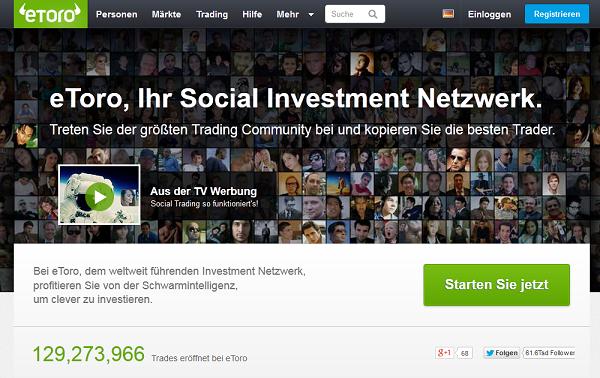 Webseite des Social Trading Brokers eToro