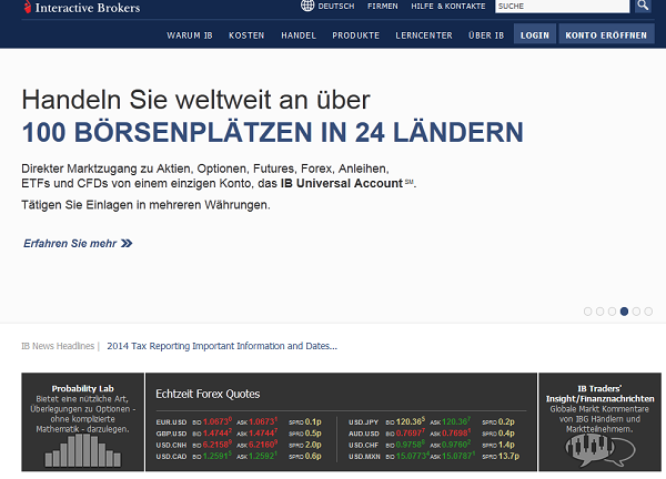 Die Interactive Brokers Webseite