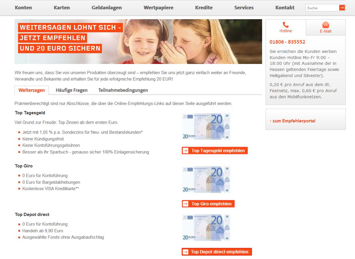 Der Werbebonus bei Wüstenrot direct verspricht 20 Euro extra