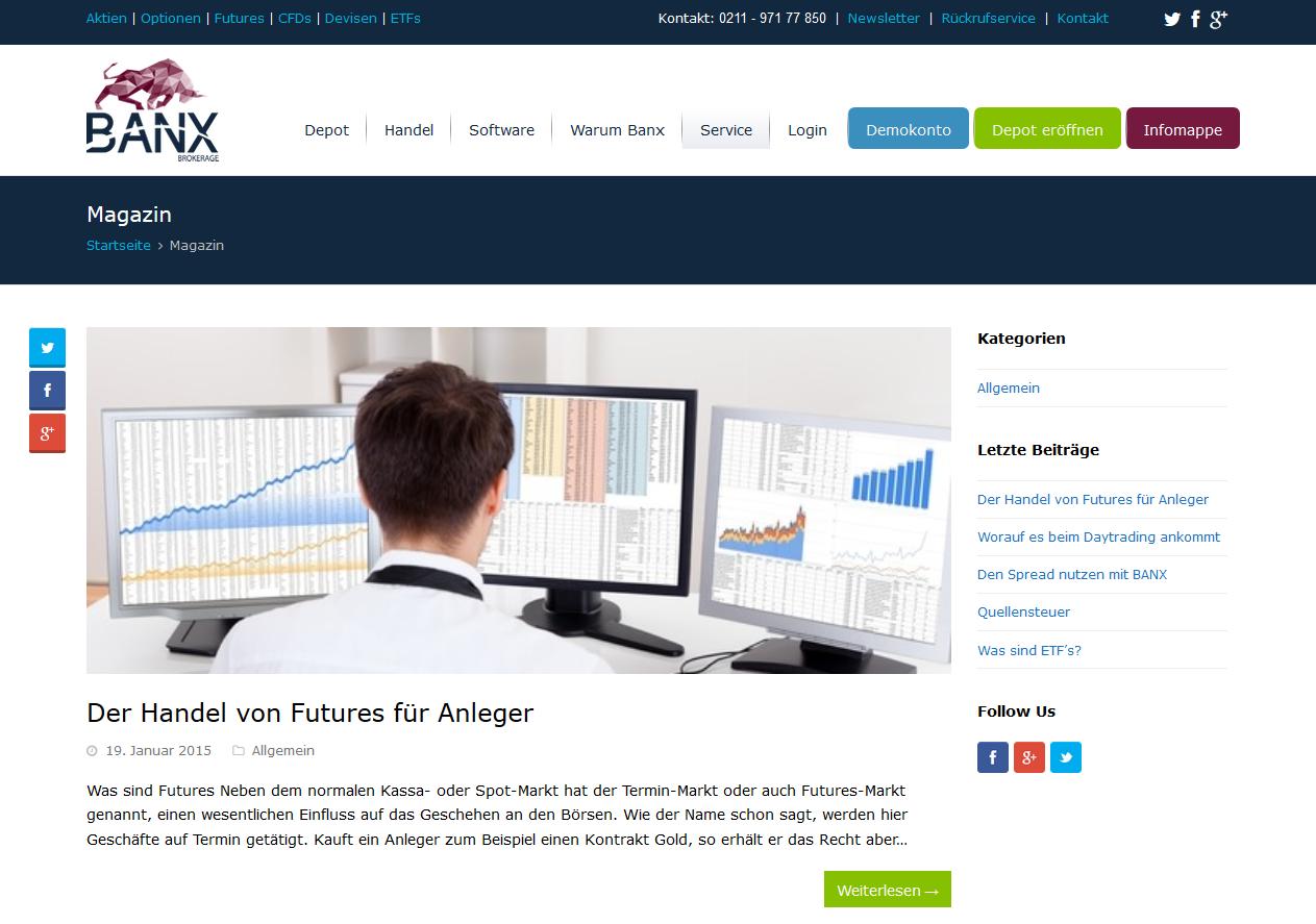 Das Online-Magazin von BANX im Überblick