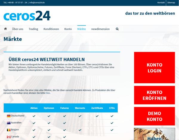 Bei Ceros24 handeln Kunden weltweit an über 100 Börsenplätzen