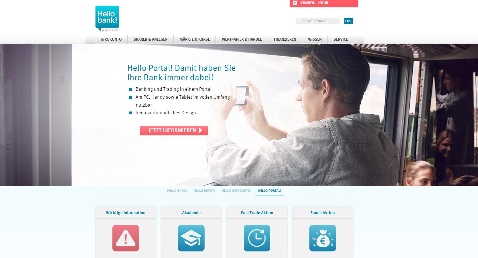 Die Hello Bank Internetseite