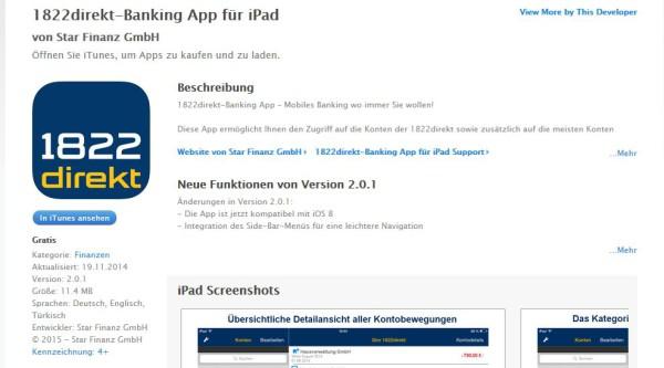 Die 1822direkt App bei iTunes