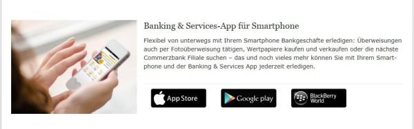Die Banking & Services-App der Commerzbank