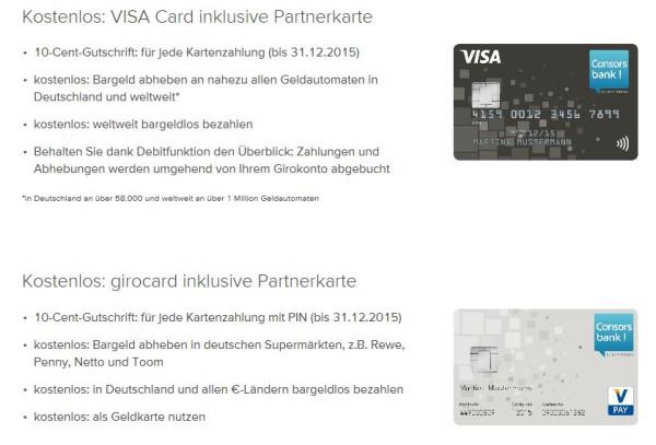 Girocard und Visa Card im Überblick