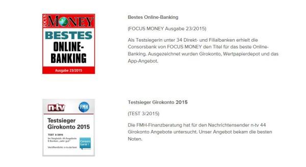Zwei Auszeichnungen der Consorsbank