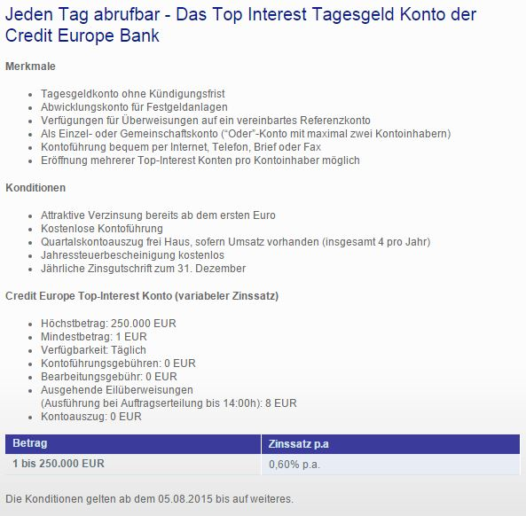Schon ab 1 Euro Tagesgeldzinsen erhalten