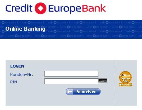 Online-Banking-Anmeldung bei der Credit Europe Bank