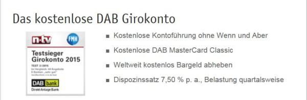 Die Vorteile des DAB Girokontos auf einen Blick