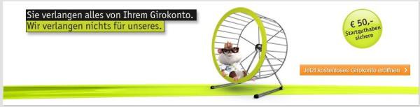 Das Girokonto mit dem 50-Euro-Startguthaben
