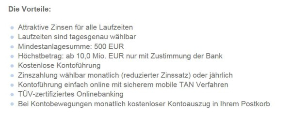 Alle Vorteile des VTB Festgeldes