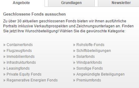 Fonds nach Branchen wählen.
