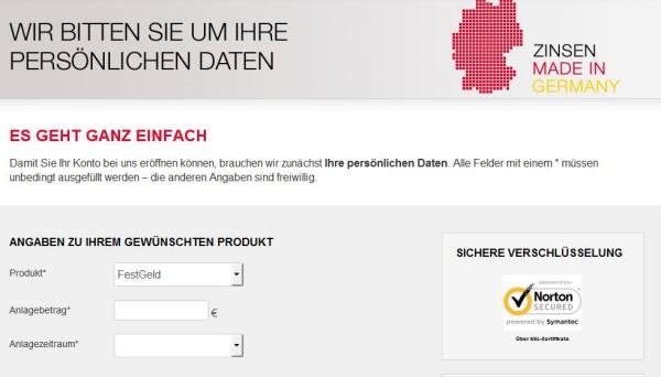 Online-Antrag Kontoeröffnung bei der GEFA Bank
