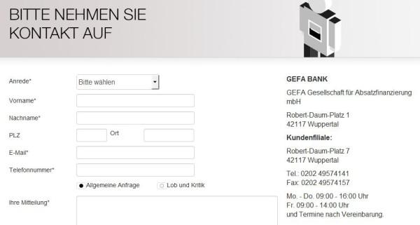 Das GEFA Bank Online-Formular