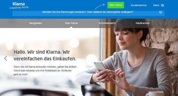 Eine übersichtliche Homepage wartet auf Anleger von Klarna