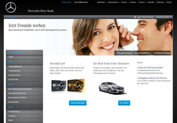 Die Startseite der Mercedes Benz Bank