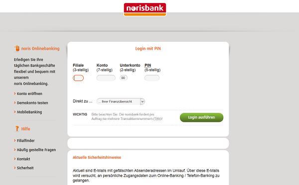 Login ins Norisbank Online Banking