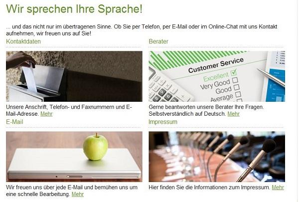 Service in deutscher Sprache