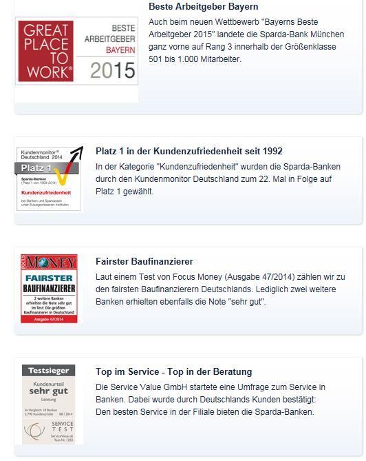 Vier Auszeichnungen der Sparda-Bank München
