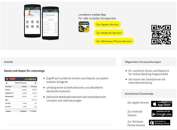 Die Comdirect mobile App im Überblick