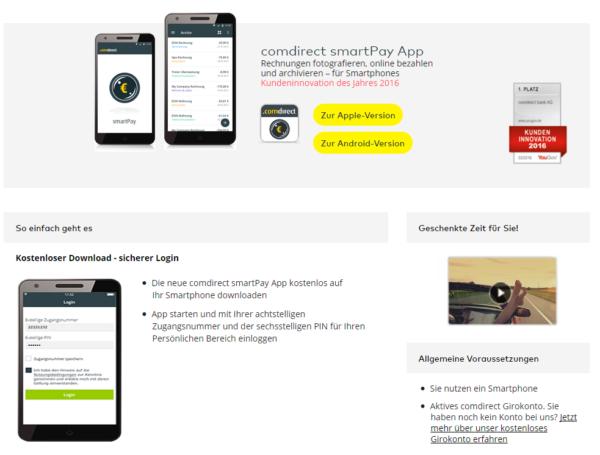 """Die """"comdirect smartPay App"""" im Überblick"""