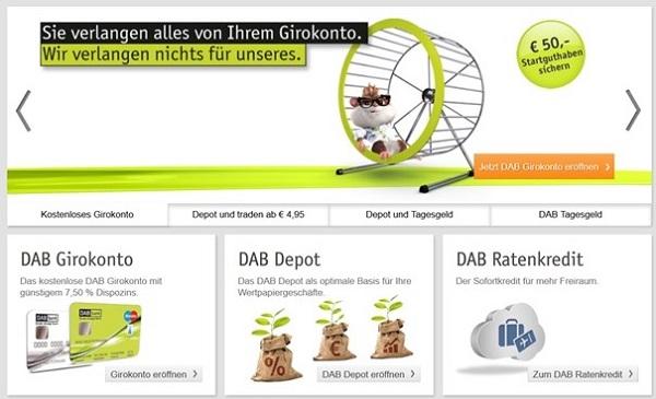 Aussehen der DAB Bank Startseite