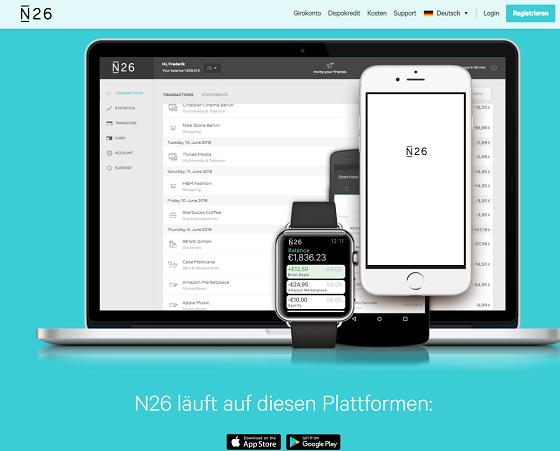 Die N26 App im Google Play Store