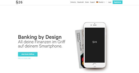 Die Homepage von N26