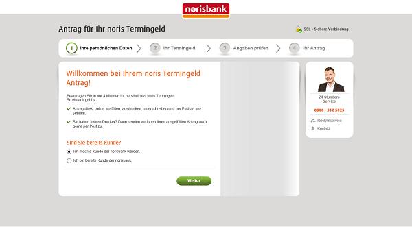 Norisbank Festgeld beantragen