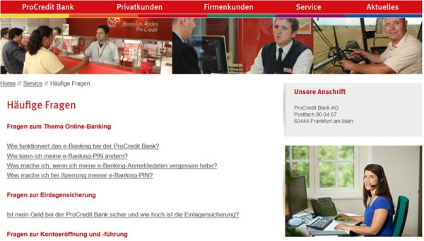 Banking FAQ der ProCredit Bank