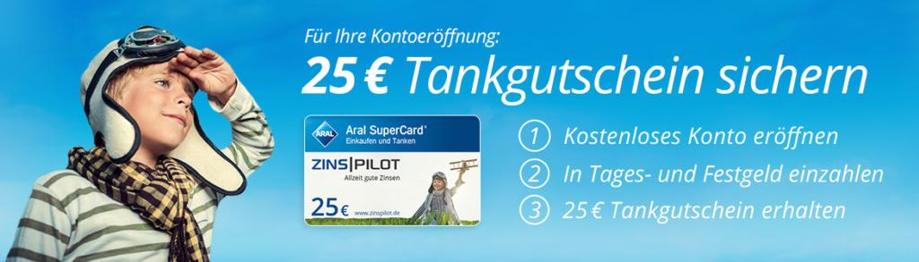 Neukunden erhalten bei Zinspilot einen Tankgutschein über 25 Euro.