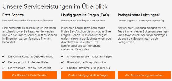 """Ausschnitt Button """"Service"""" von flatex"""