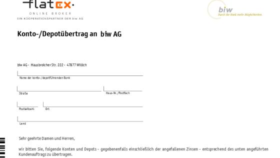 flatex Formulare Depotübertrag