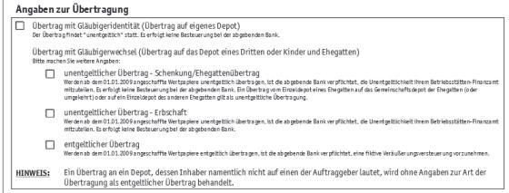 Auszug des Formulars Depotwechsel flatex