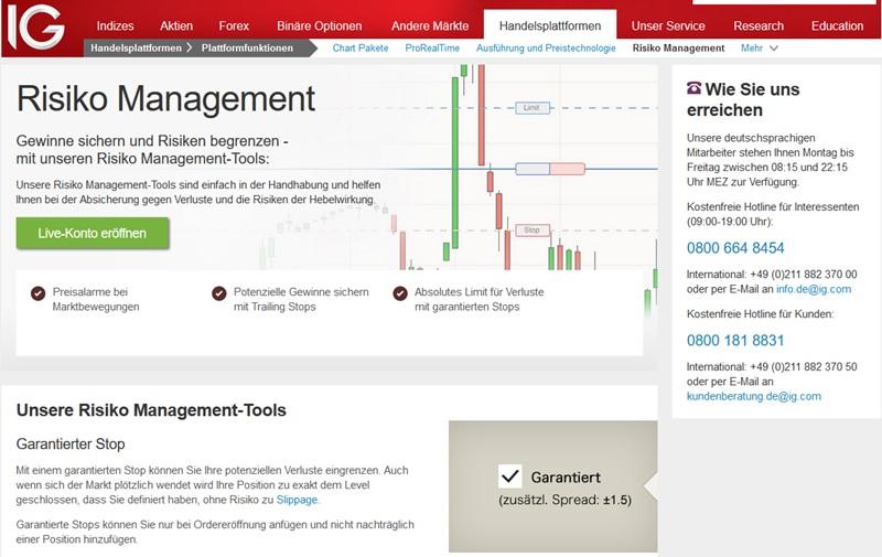 Das Risiko Management von IG